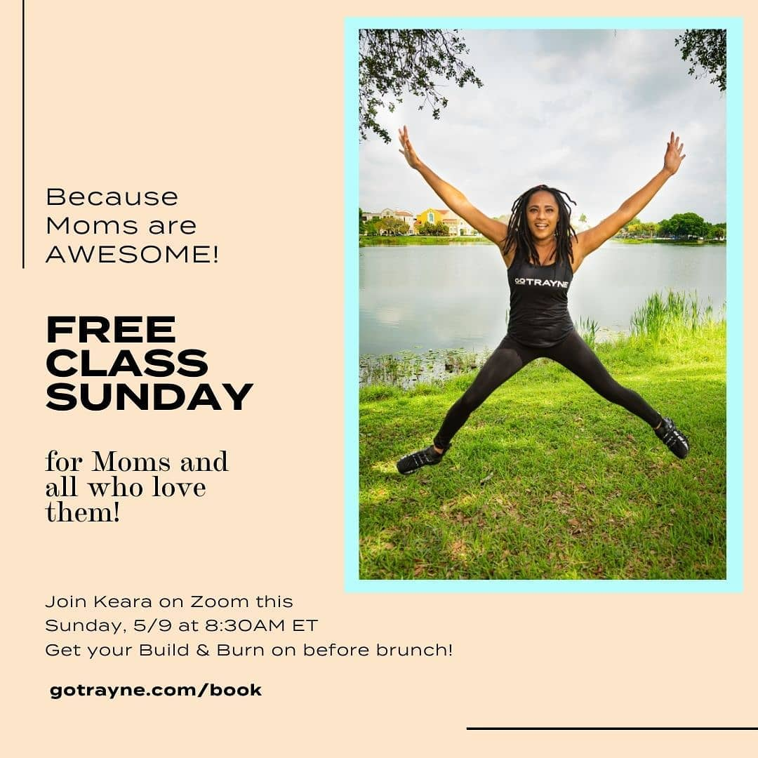 Start Mother's Day off on a high note! Experience Keara's 45 minute Build & Burn class FREE this Sunday at 8:30 AM ET. 💪🔥  Sign up atgotrayne.com/book⚡