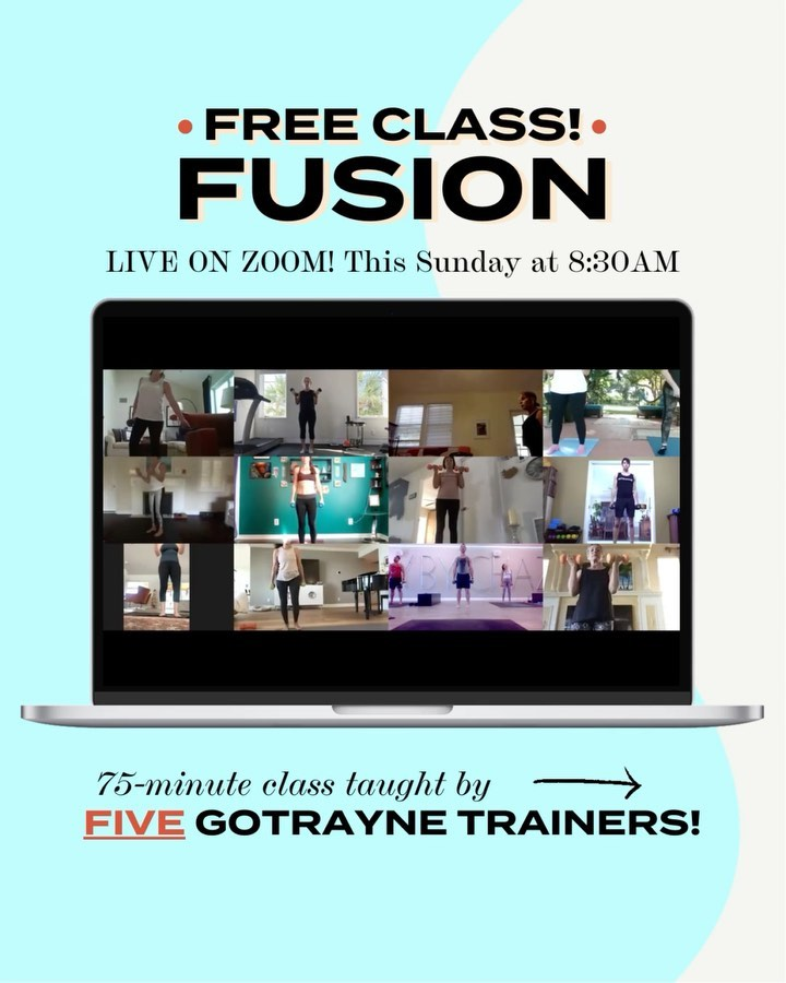 Five Trainers. One Epic FREE Workout. Don't miss Sunday's 75-minute 8:30AM Fusion class!  🖥  LIVE on Zoom 📍 or In-Studio in Sarasota, FL 💪 HIIT, Strength, Yoga, Cardio & More  Led by Chaz, with guest training segments featuring Tara, Keara, Andrew and Morgana, this full body workout will rev up your muscles and take your weekend to the next level.  TO SIGN UP: Go to GoTrayne.com/Book (link in bio) and filter to either Sunday's schedule or Chaz's to book this FREE class. Can't wait to see you!